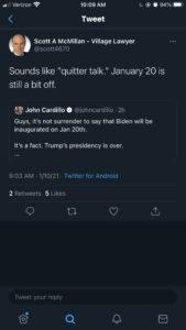 Scott McMillan responds to tweet saying Joe Biden will be inaugurated president on Jan. 20.