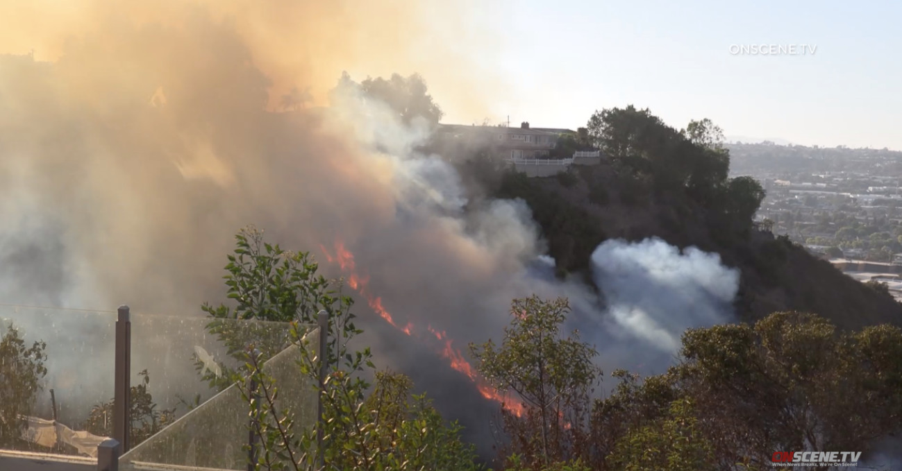 Blaze Breaks Out in University Heights Canyon, Forcing Out Residents Near Trolley Barn Park